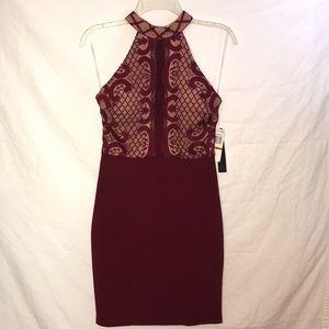 NWT Sequin Hearts Maroon Lace Bodycon Dress 3 5